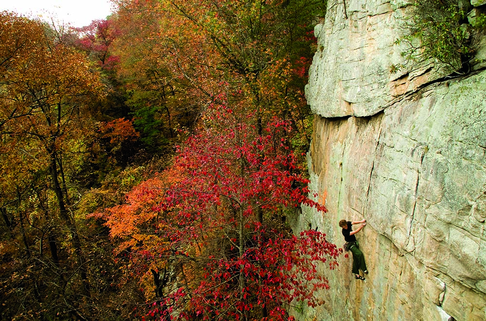 Rock climbing in Foster Falls, Tennessee