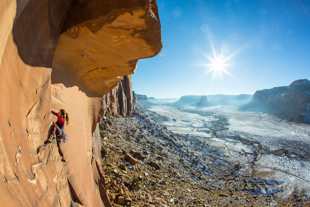 Rock climbing in Indian Creek, Utah at Bears Ears National Monument