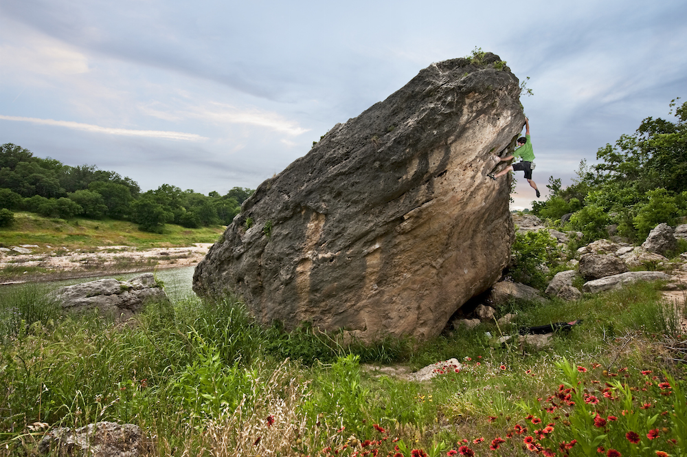 Rock climbing at Reimer's Ranch outside Austin, Texas