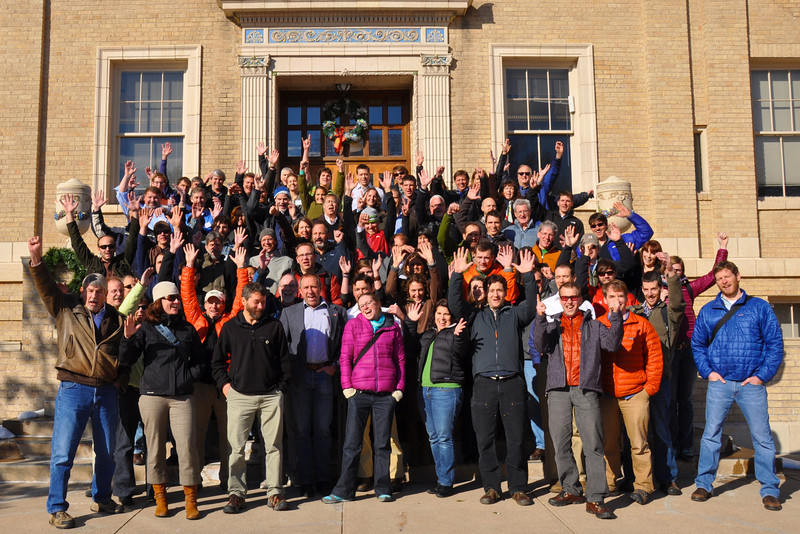 Summit attendees celebrate a productive couple of days at the Outdoor Alliance Partnership Summit in Golden, Colorado.