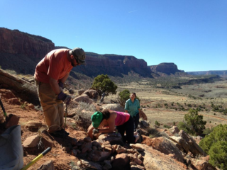 A volunteer stewardship team works on a rock climbing access trail in the desert
